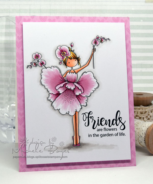 Stamping Bella JANUARY 2017 rubber stamp release- Tiny Townie Garden Girl ORCHID card by Michele Boyer
