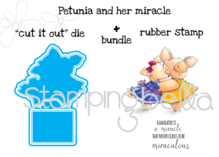 """Stamping Bella JANUARY 2017 rubber stamp release- Petunia and her MIRACLE """"cut it out"""" die and rubber stamp bundle"""