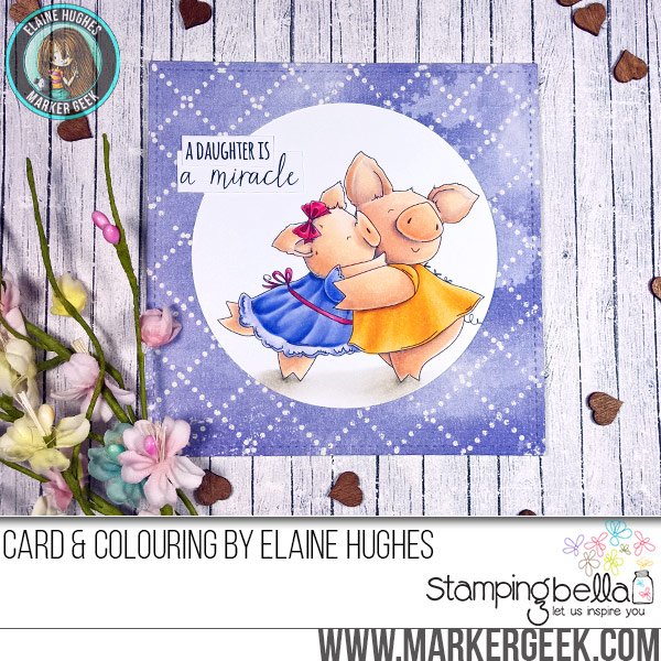 Stamping Bella JANUARY 2017 rubber stamp release- Petunia and her MIRACLE card by Elaine Hughes