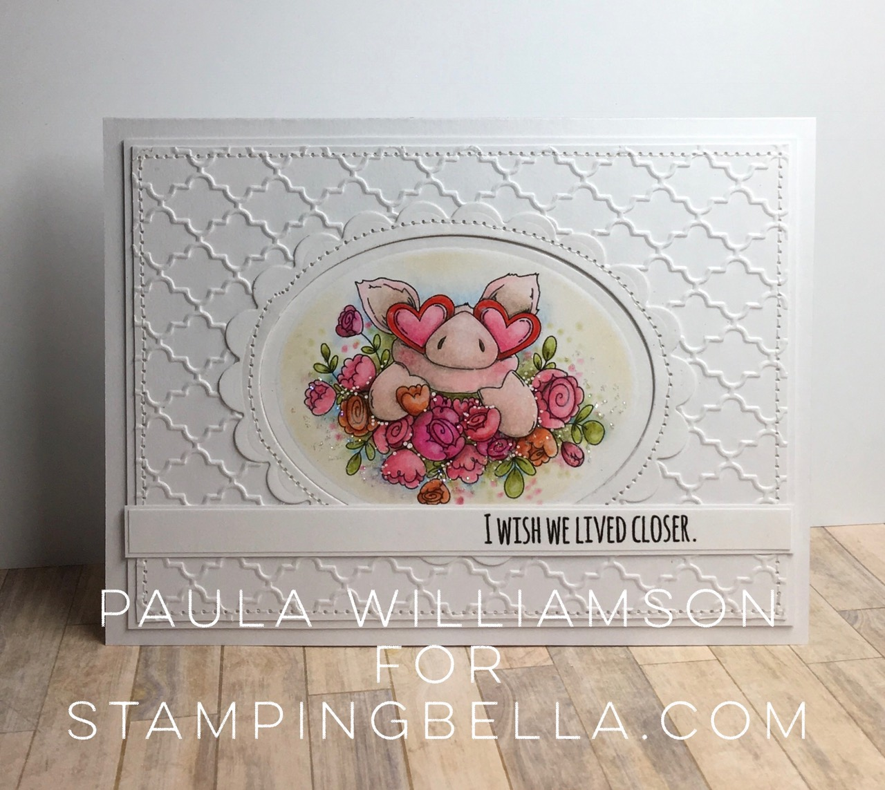 Stamping Bella JANUARY 2017 rubber stamp release- Petunia's in Love card by Paula Williamson
