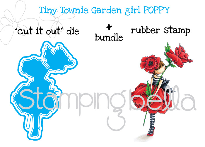 """Stamping Bella JANUARY 2017 rubber stamp release-Tiny Townie Garden Girl POPPY """"CUT IT OUT"""" DIE + RUBBER STAMP BUNDLE"""