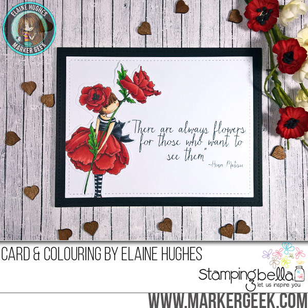 Stamping Bella JANUARY 2017 rubber stamp release-Tiny Townie Garden Girl POPPY card made by Alice Wertz