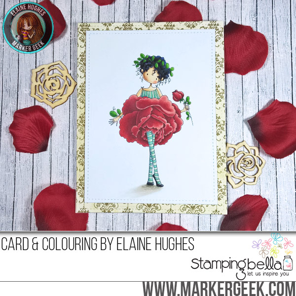 Stamping Bella JANUARY 2017 rubber stamp release-Tiny Townie Garden Girl ROSE card made by Elaine Hughes