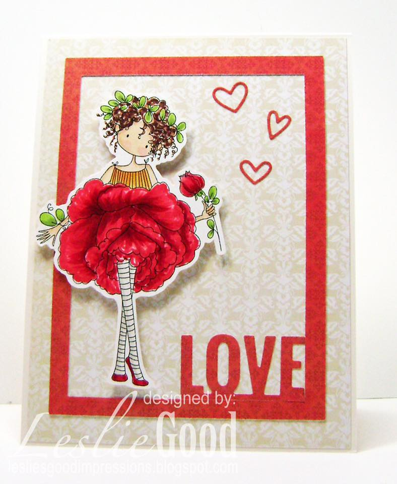 Bellarific Friday January 27th 2017-PHOTO INSPIRATION CHALLENGE- Tiny Townie GARDEN GIRL ROSE card by Leslie Good