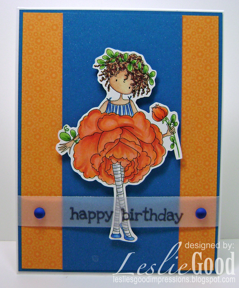 Stamping Bella JANUARY 2017 rubber stamp release- Garden Girl ROSE card by Leslie Good