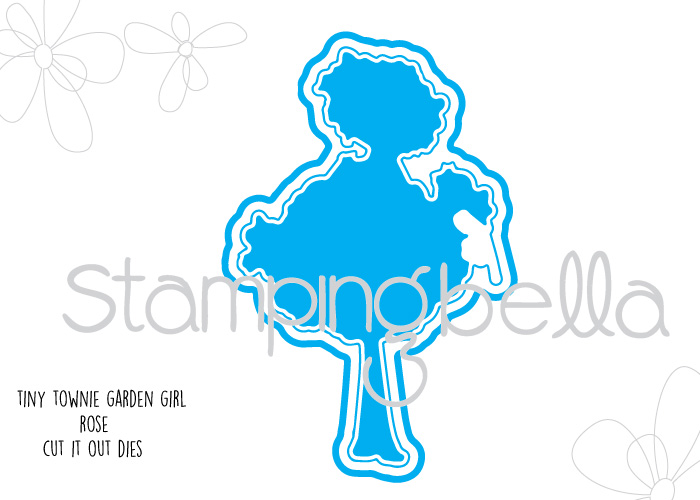 Stamping Bella JANUARY 2017 rubber stamp release- Garden Girl ROSE CUT IT OUT DIE