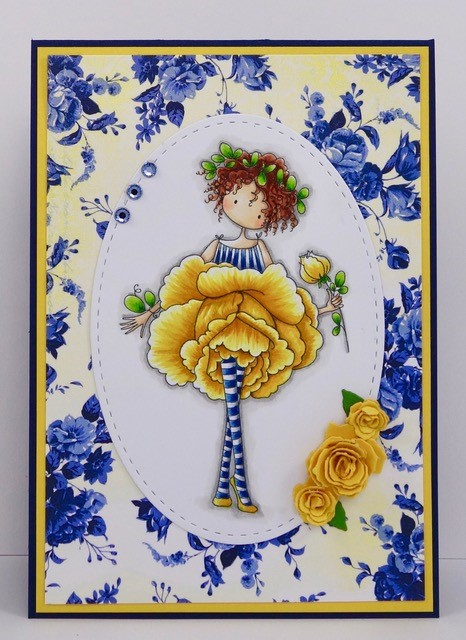 Stamping Bella JANUARY 2017 rubber stamp release- Garden Girl ROSE CARD by STEPHANIE HILL