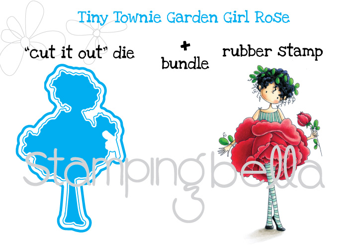 Stamping Bella JANUARY 2017 rubber stamp release- Garden Girl ROSE CUT IT OUT + RUBBER STAMP BUNDLE
