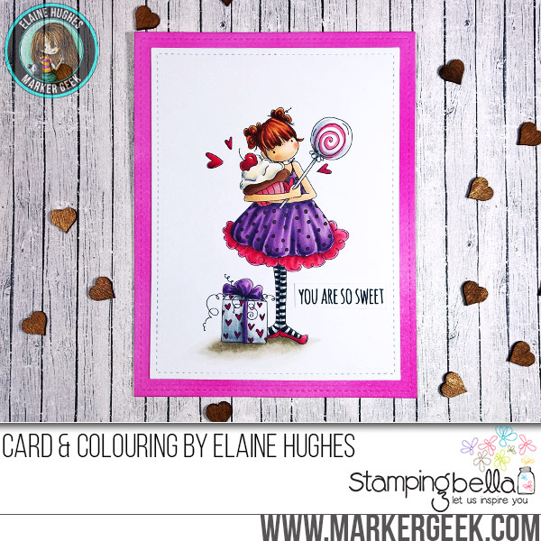 Stamping Bella JANUARY 2017 rubber stamp release-Tiny Townie Sammy is SWEET card by Elaine Hughes