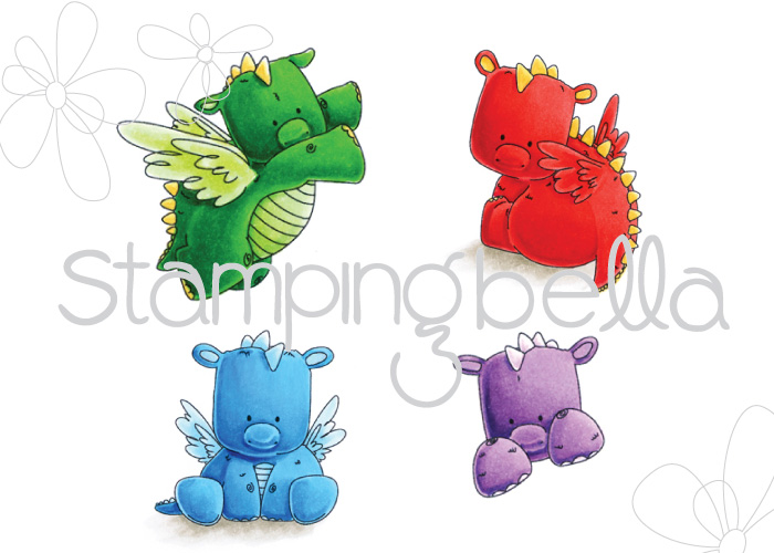 Stamping Bella JANUARY 2017 rubber stamp release-SET OF DRAGONS