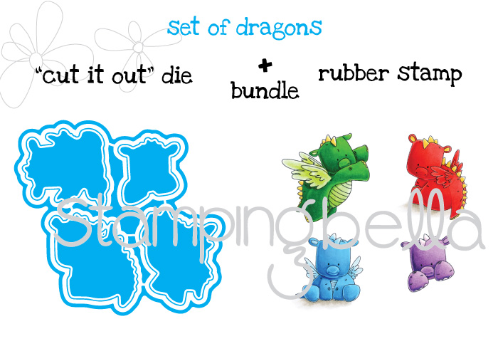 """Stamping Bella JANUARY 2017 rubber stamp release-SET OF DRAGONS """"cut it out"""" die and rubber stamp BUNDLE"""