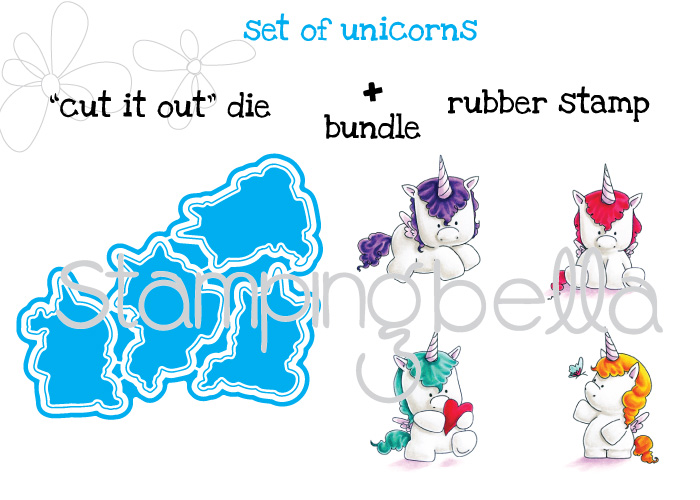 """Stamping Bella JANUARY 2017 rubber stamp release-SET OF UNICORNS """"cut it out"""" die and rubber stamp BUNDLE"""