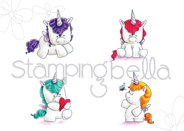 Stamping Bella JANUARY 2017 rubber stamp release-SET OF UNICORNS