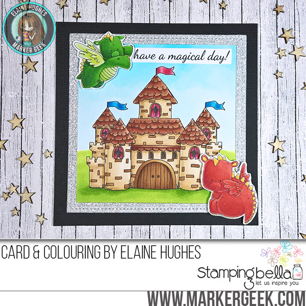 Stamping Bella JANUARY 2017 rubber stamp release-SQUIDGY castle and SET OF DRAGONS card by ELAINE HUGHES