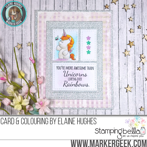 Stamping Bella JANUARY 2017 rubber stamp release-SET OF UNICORNS card by Elaine Hughes