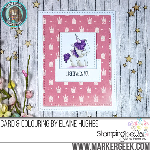 Stamping Bella JANUARY 2017 rubber stamp release-UNICORN SENTIMENT card by Elaine Hughes