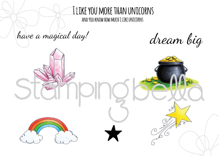 Stamping Bella JANUARY 2017 rubber stamp release-UNICORN ADD ON SET