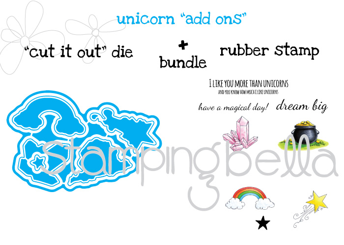 """Stamping Bella JANUARY 2017 rubber stamp release-UNICORN ADD ON SET """"CUT IT OUT DIE"""" and RUBBER STAMP bundle"""