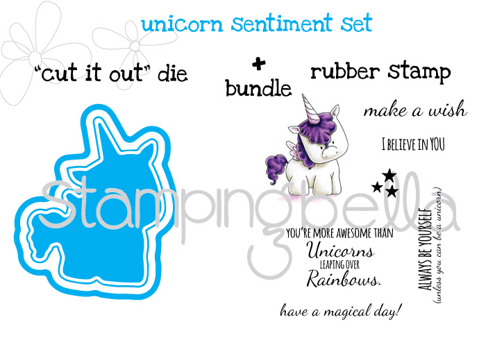 Stamping Bella JANUARY 2017 rubber stamp release-UNICORN SENTIMENT SET