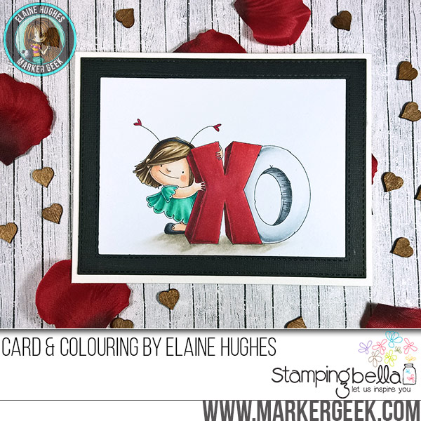 Stamping Bella JANUARY 2017 rubber stamp release-XOsquidgy card by Elaine Hughes