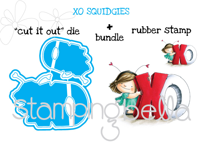 Stamping Bella JANUARY 2017 rubber stamp release- XO SQUIDGIES CUT IT OUT DIES AND RUBBER STAMP BUNDLE
