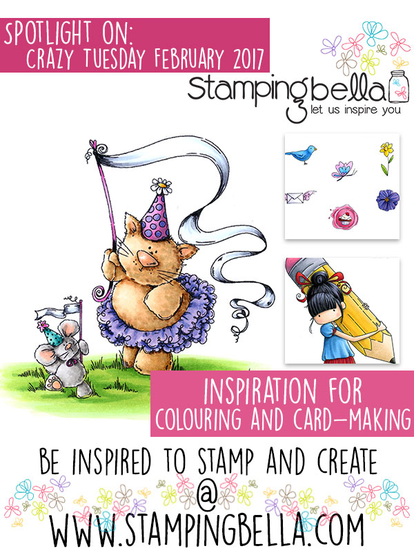 Spotlight On Stamping Bella Feb 2017 Crazy Tuesday. Click through for the inspiration!