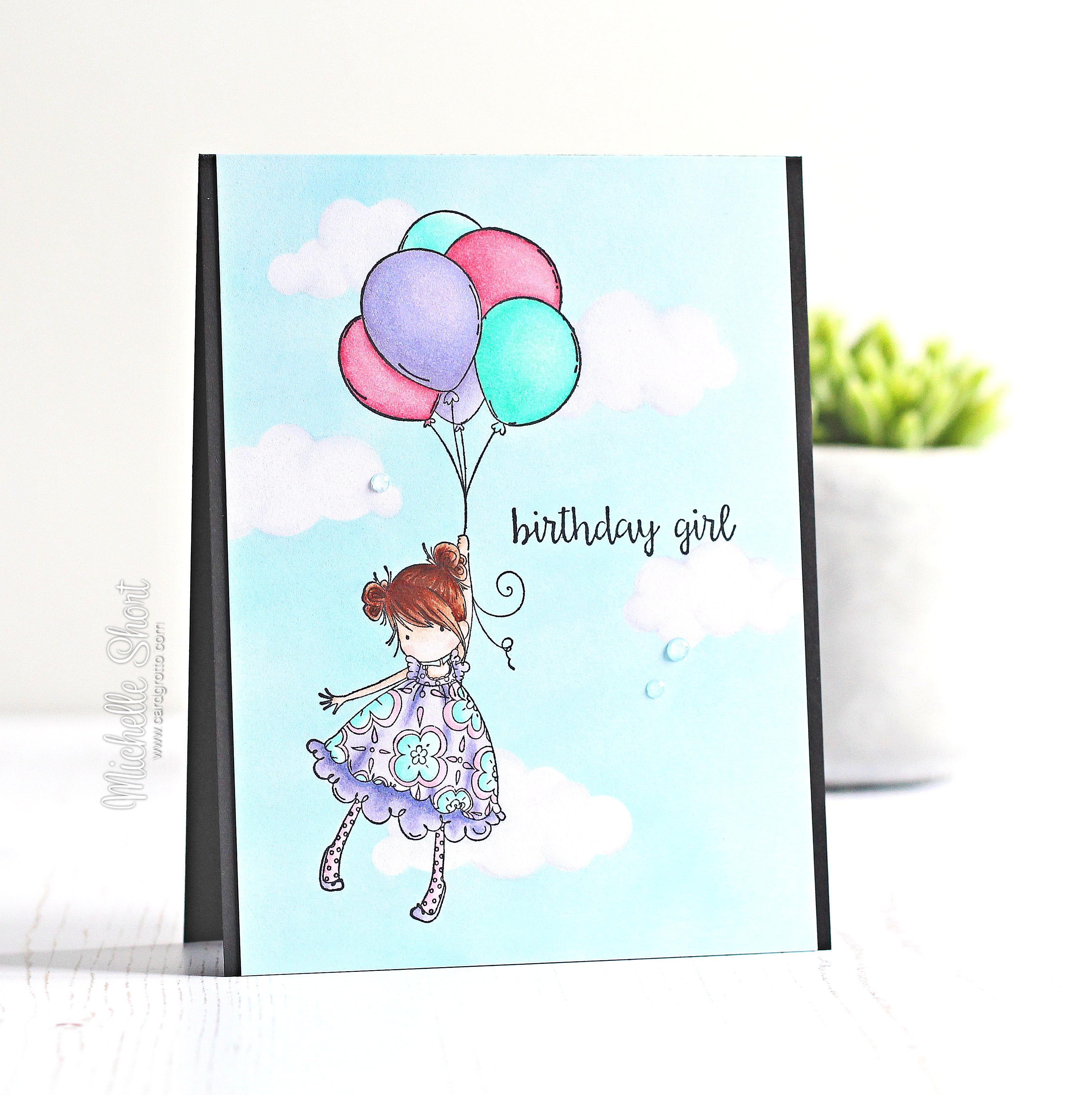 Wonderful Wednesdays with MICHELLE SHORT- RUBBER STAMP USED- Tiny Townie BLOSSOM loves BALLOONS
