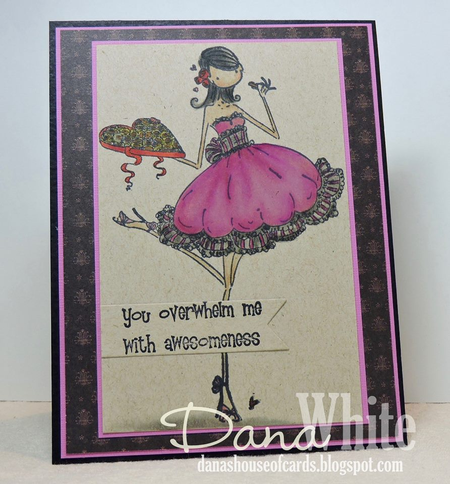 Bellarific Friday with Stamping Bella stamps- Uptown girl CATHERINE NIBBLING CHOCOLATE Rubber stamp.  Card by  DANA WHITE
