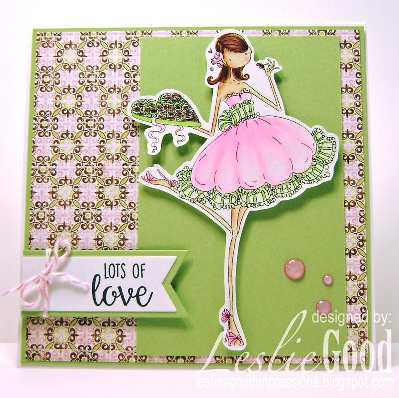 Bellarific Friday with Stamping Bella stamps- Uptown girl CATHERINE NIBBLING CHOCOLATE Rubber stamp.  Card by  Leslie Good