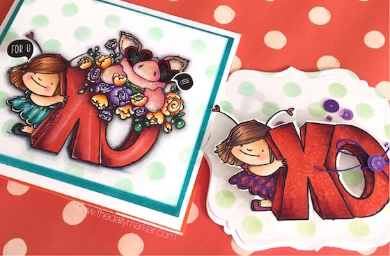 DESIGN TEAM THURSDAY-Kathy Racoosin uses XO SQUIDGIE RUBBER STAMP and PETUNIA'S IN LOVE RUBBER STAMP