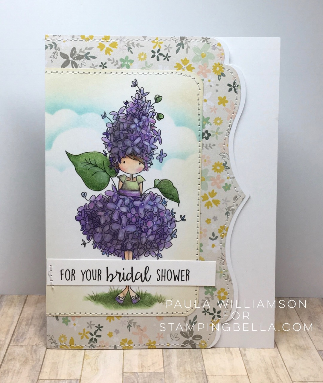 Bellarific Friday challenge with STAMPING BELLA- Card made by Paula Williamson  using our TINY TOWNIE GARDEN GIRL LILAC rubber stamp