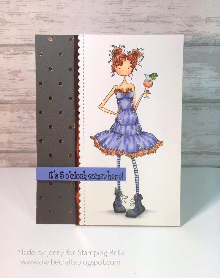 Bellarific Friday with Stamping Bella- Rubber stamp used Uptown girl MADISON has a MARGARITA  card made by JENNY BORDEAUX