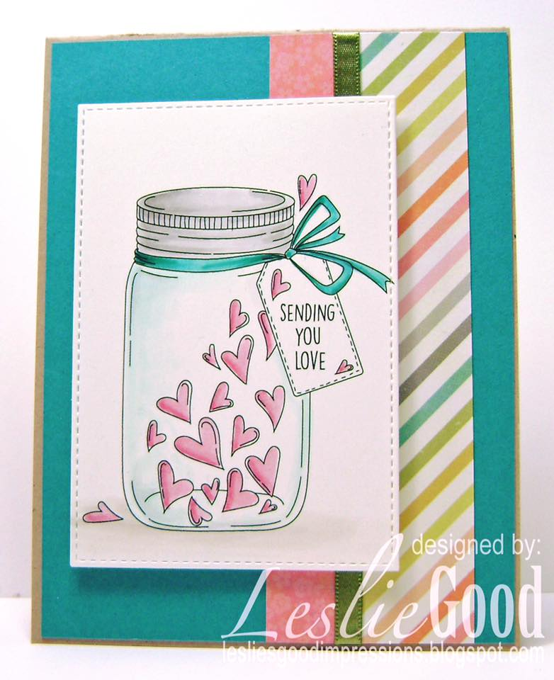 Bellarific Friday challenge with STAMPING BELLA- Card made by Leslie Good  using our MASON JAR OF HEARTS rubber stamp