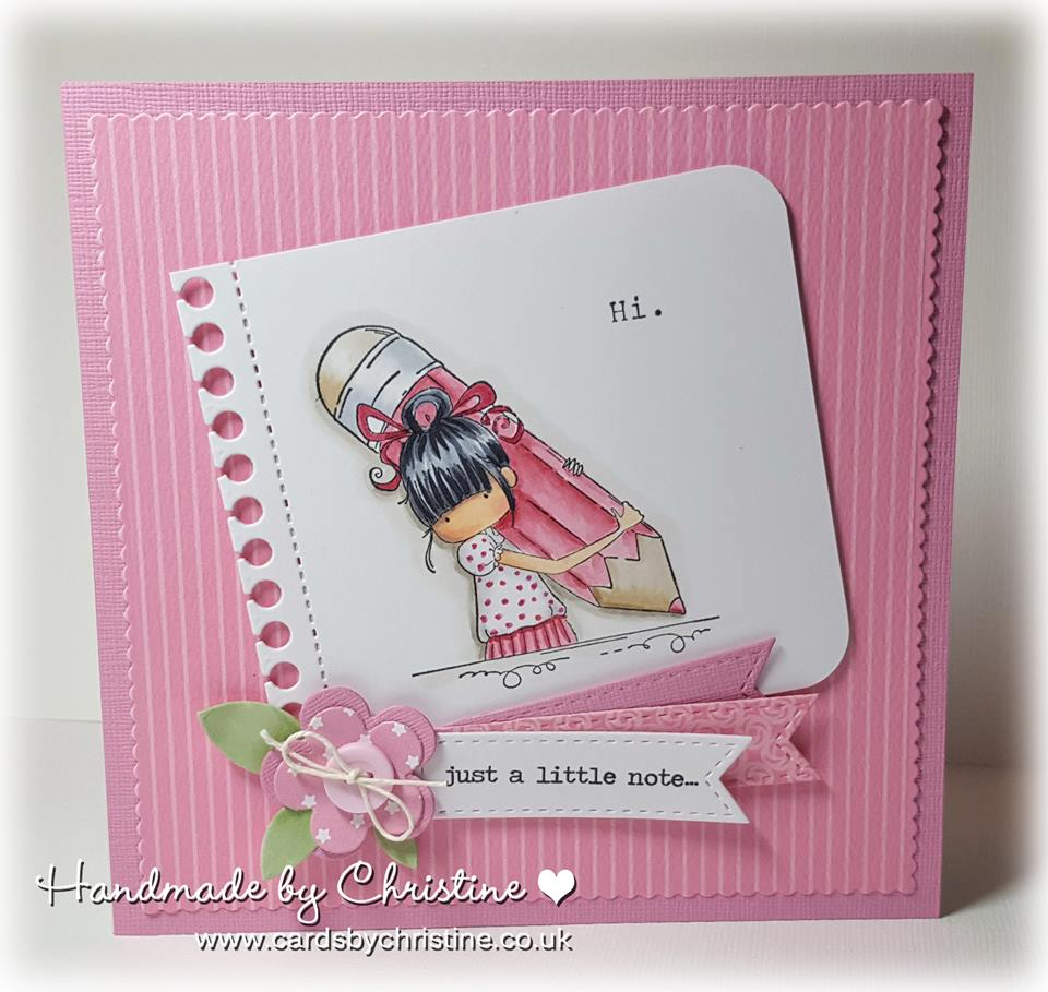 Bellarific Friday with Stamping Bella stamps- Penelope has a Pencil Rubber stamp.  Card by Christine Levison