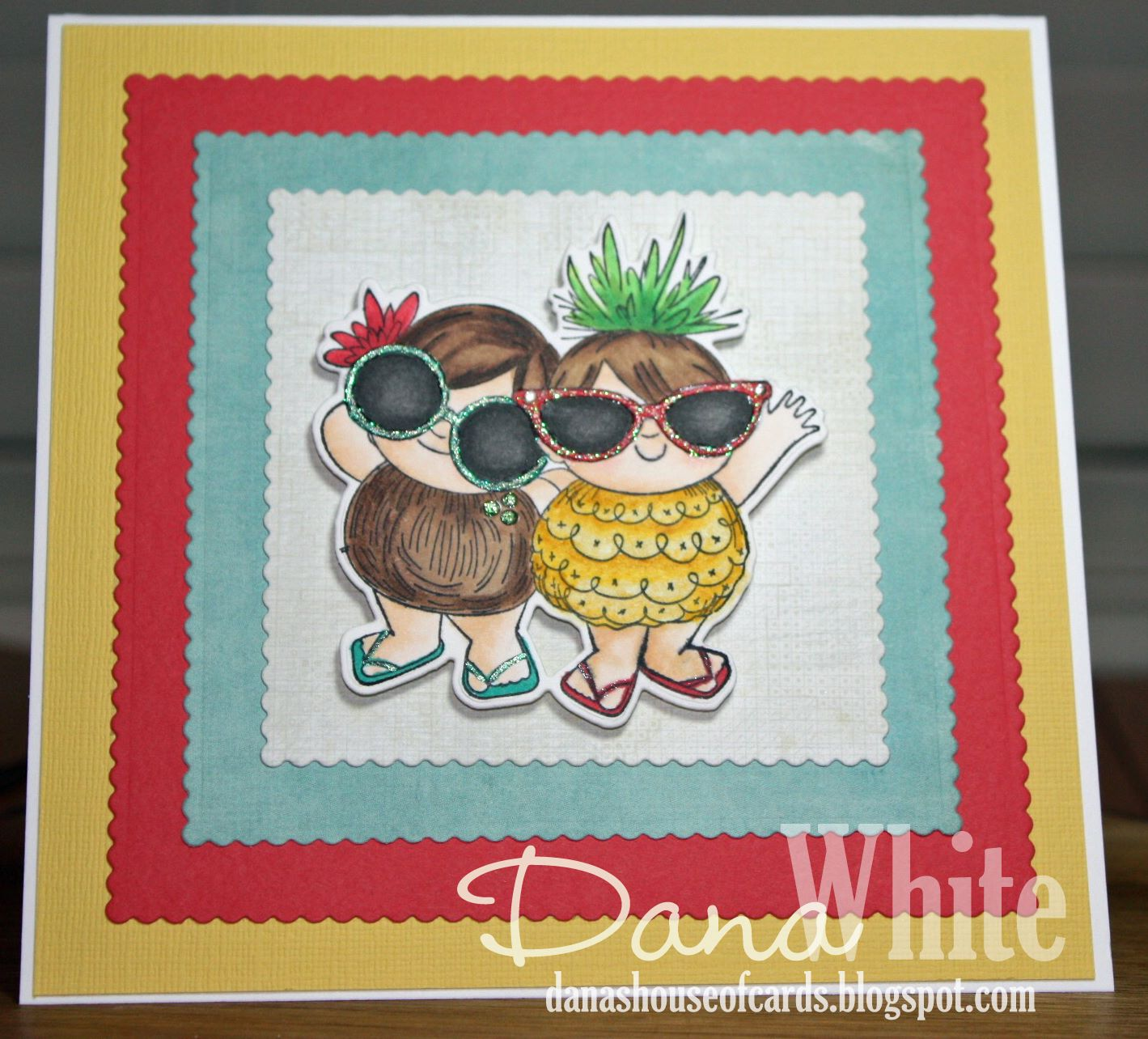 Bellarific Friday challenge with STAMPING BELLA- Card made by Dana White  using our TROPICAL SQUIDGIES rubber stamp