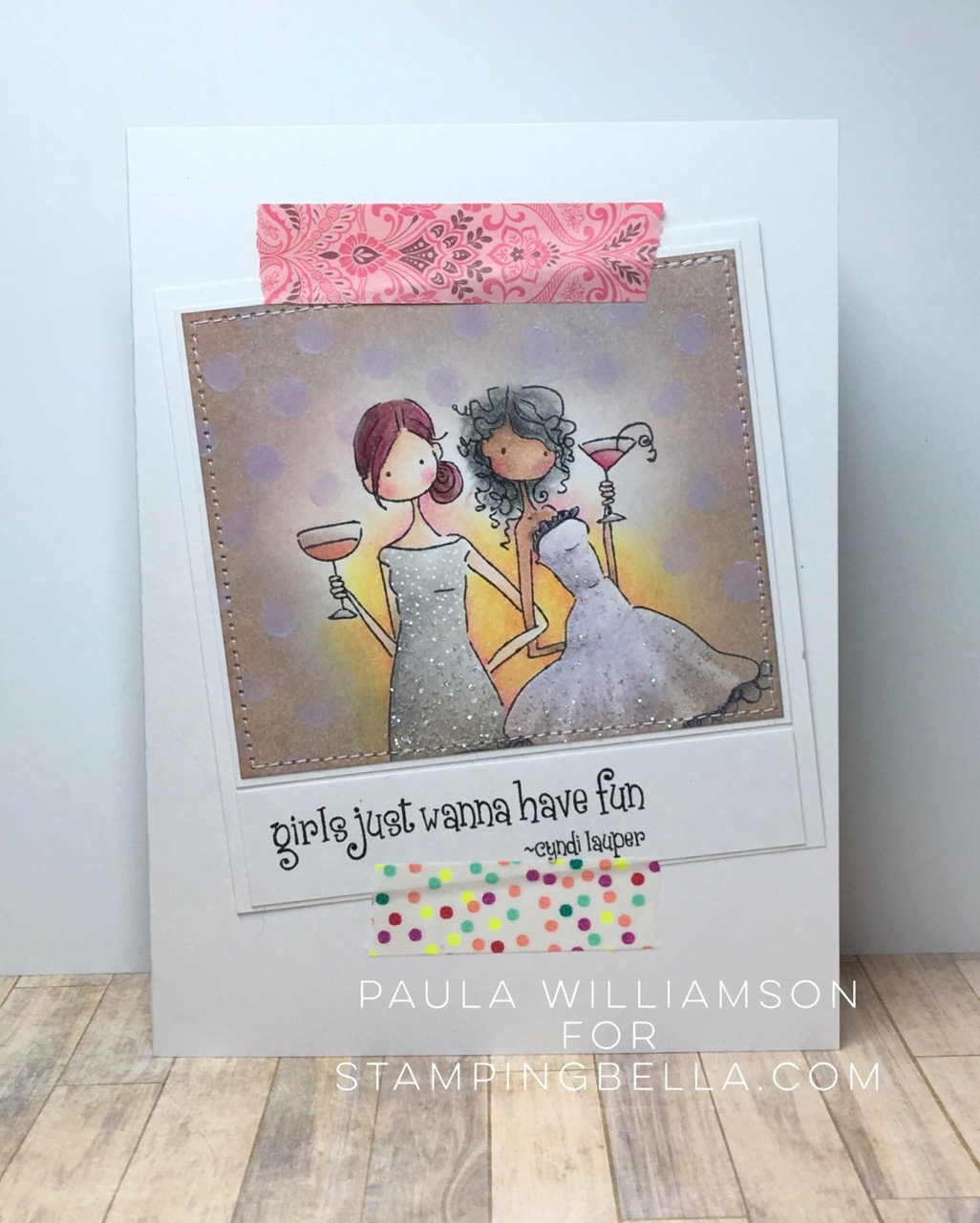 Bellarific Friday with Stamping Bella- Rubber stamp used UPTOWN GIRLS VICTORIA and JULIETTE card made by PAULA WILLIAMSON