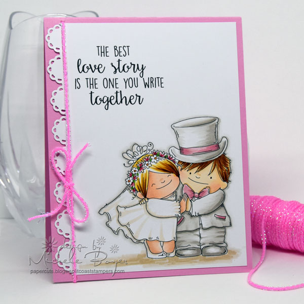 Stamping Bella SPRING 2017 release- LOVE STORY SQUIDGIES RUBBER STAMP. Card by MICHELE BOYER