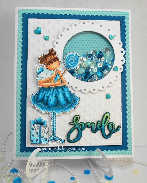 it's WONDERFUL WEDNESDAYS WITH STAMPING BELLA-Tiny Townie Sammy is SWEET shaker card by JENNY DIX