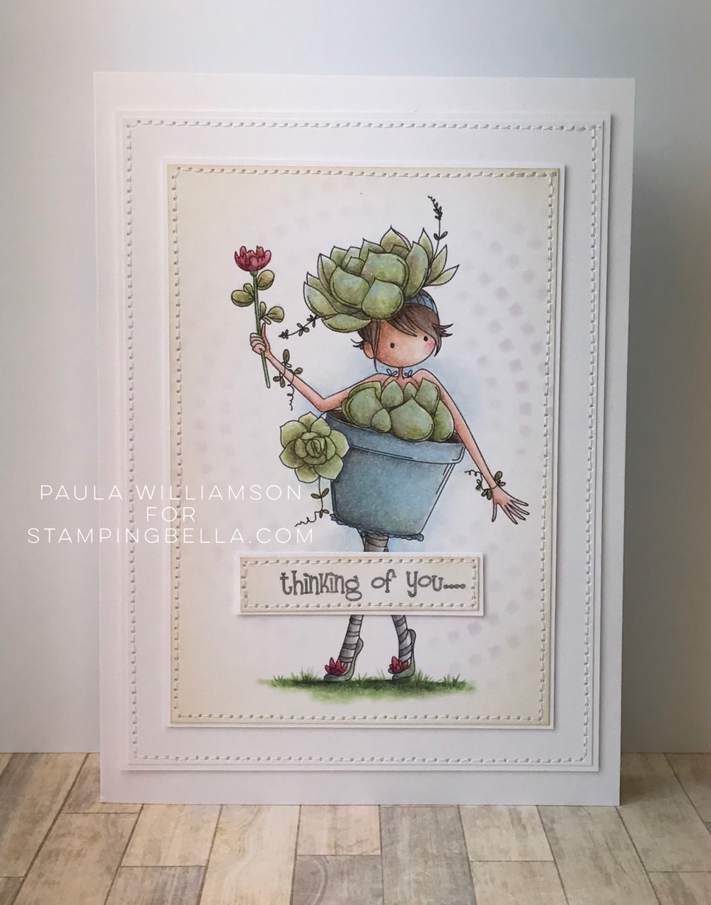 Stamping Bella Sneak Peek March 2017- TINY TOWNIE SUSIE the SUCCULENT RUBBER STAMP. Card by PAULA WILLIAMSON