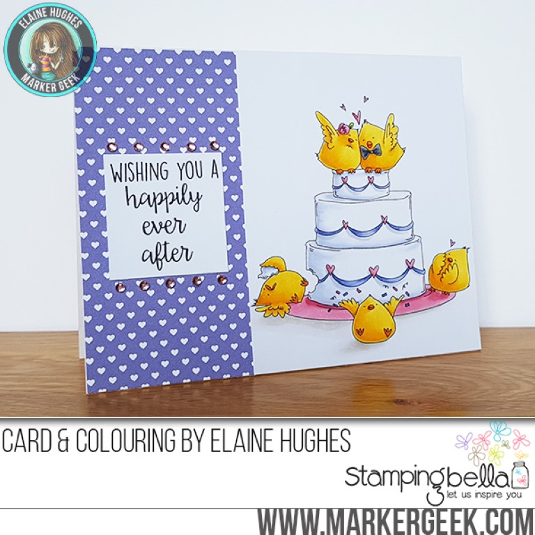 017 release- WEDDING CAKE CHICKS RUBBER STAMP. Card by ELAINE HUGHES