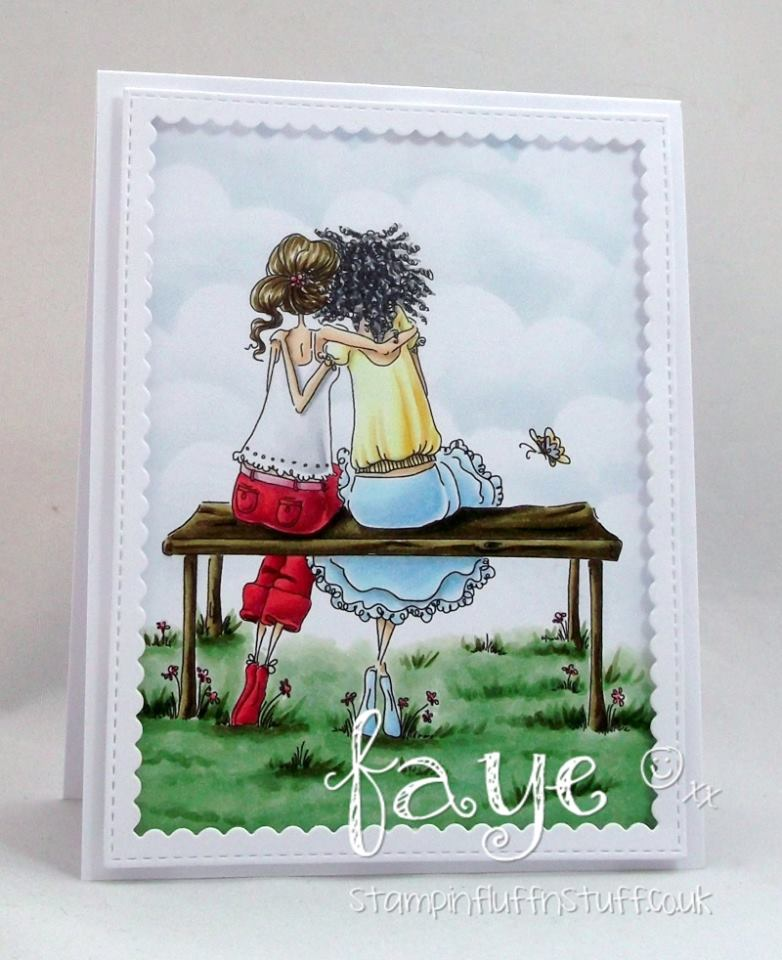 Bellarific Friday STAMP OF THE MONTH UPTOWN GIRLS BELINDA and BERNADETTE-card made by FAYE WYNN JONES