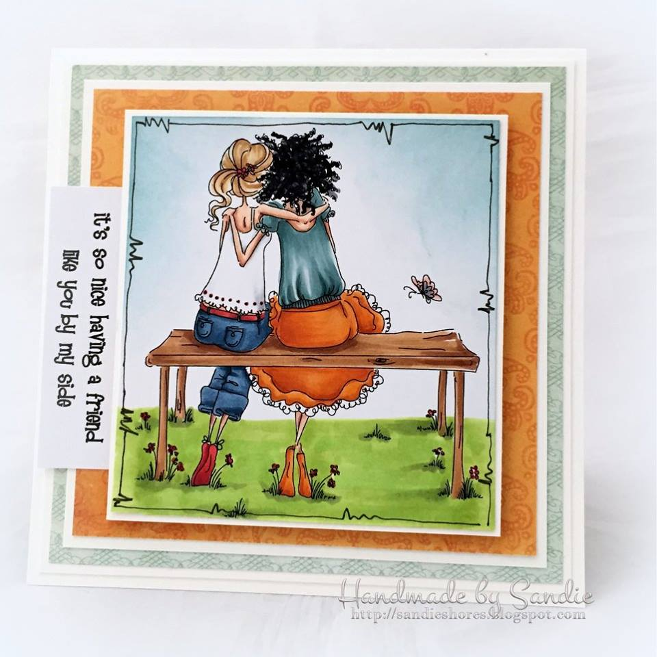 Bellarific Friday STAMP OF THE MONTH UPTOWN GIRLS BELINDA and BERNADETTE-card made by Sandie Dunne