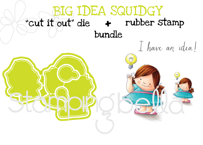 "Stamping Bella SPRING 2017 RELEASE- BIG IDEA squidgy RUBBER stamp + ""CUT IT OUT DIE"" BUNDLE (save 15%0"