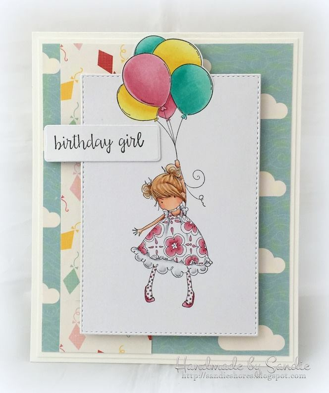 Bellarific Friday INSPIRATION PHOTO CHALLENGE- RUBBER STAMP USED: TINY TOWNIE BLOSSOM LOVES BALLOONS , CARD MADE BY SANDIE DUNNE