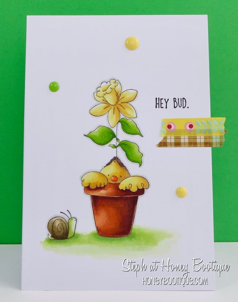 Bellarific Friday by Stamping Bella MARCH 31 2017- BUDDING CHICK rubber stamp card by STEPHANIE HILL