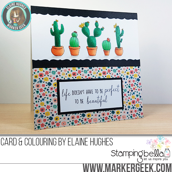 Stamping Bella Spring 2017 release -CACTI rubber stamp CARD by ELAINE HUGHES