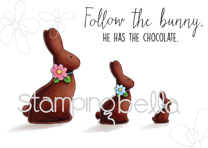 Stampingbella SPRING 2017 RELEASE- CHOCOLATE BUNNIES RUBBER STAMP