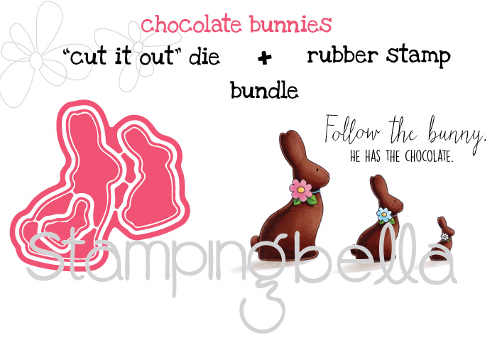 "Stampingbella SPRING 2017 RELEASE- CHOCOLATE BUNNIES RUBBER STAMP + ""CUT IT OUT"" DIES BUNDLE"