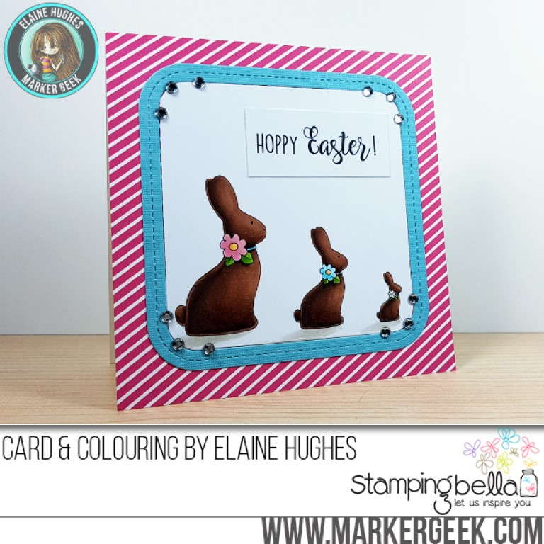 Stampingbella SPRING 2017 RELEASE- CHOCOLATE BUNNIES RUBBER STAMP. Card by Elaine Hughes