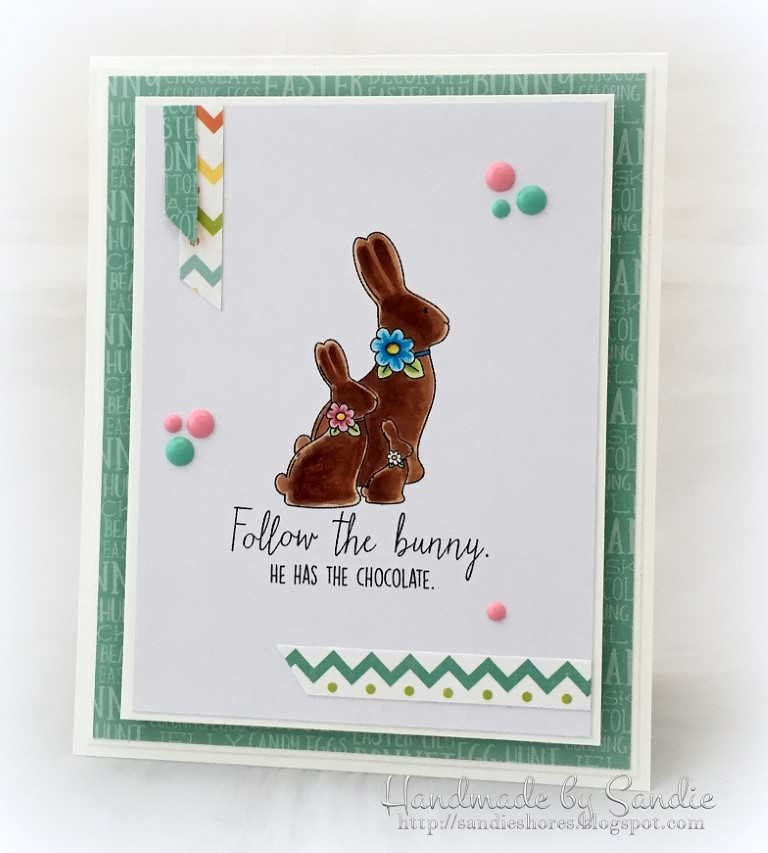 Stampingbella SPRING 2017 RELEASE- CHOCOLATE BUNNIES RUBBER STAMP. Card by Sandie Dunne